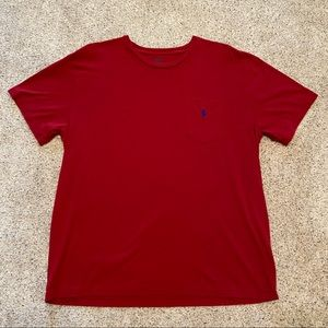 Men's dark red Polo pocket tshirt large